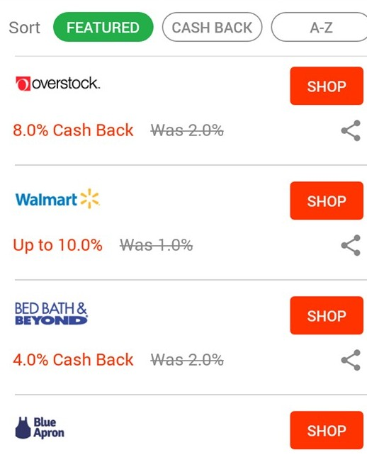 the options with ebates